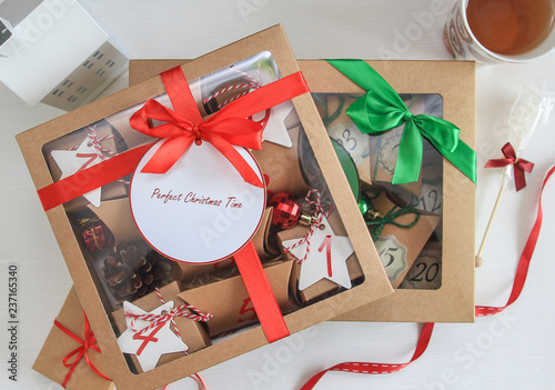 Merry Christmas Composition With Present Box Advent Calendar Idea