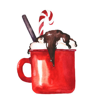Red cup with cocoa, coffee or hot chocolate isolated on white background. Hand drawn watercolor illustration.