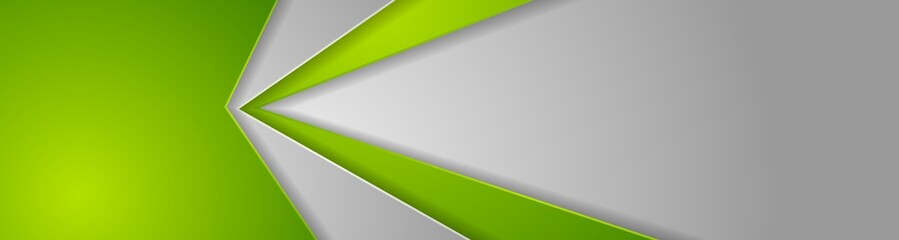 Abstract green and grey tech geometric banner design Wall mural