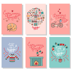 Hygge cards with hand drawn cozy home illustrations
