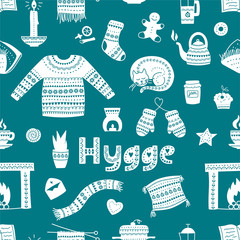 Hand drawn seamless pattern with hygge elements