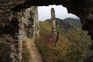 Ruins of Starhrad castle in Žilina region, Slovakia