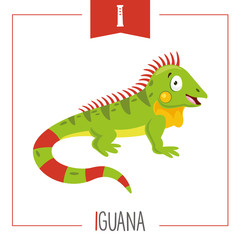 Vector Illustration Of Alphabet Letter I And Iguana