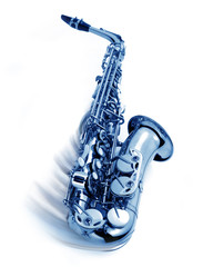 blue jazz saxophone with swing movement