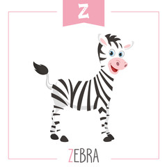 Vector Illustration Of Alphabet Letter Z And Zebra