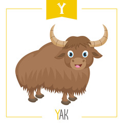 Vector Illustration Of Alphabet Letter Y And Yak