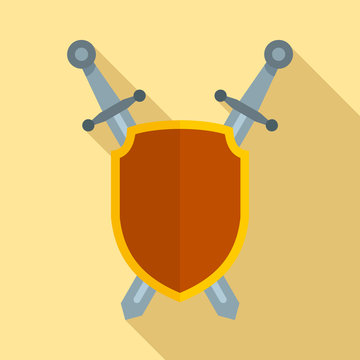 Shield and sword icon. Flat illustration of shield and sword vector icon for web design