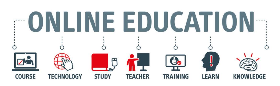 online learning vector illustration concept banner
