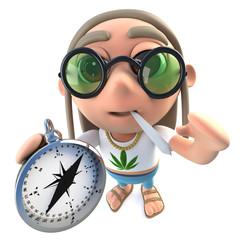 3d Funny cartoon hippy stoner character holding a compass