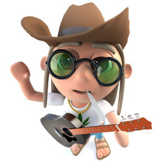 3d Funny cartoon hippy stoner character wearing a cowboy hat and playing guitar