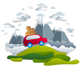 Car travel and tourism, red minivan with luggage riding off road with mountain peaks in background, clouds in the sky, paper cut vector illustration of auto in scenic nature landscape.