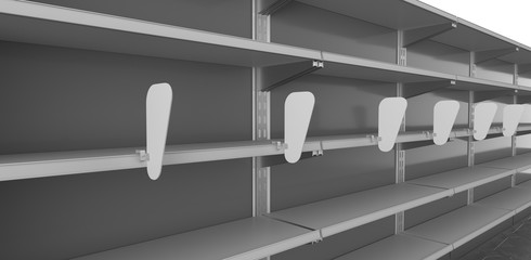 Empty Shop Shelf With Rows Of Wobblers