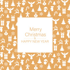 Orange Merry Christmas and Happy New Year card with festive pattern.