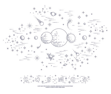 Fantastic undiscovered galaxy with unknown planets, science fiction, with stars and other elements. Explore universe, breathtaking space science. Thin line 3d vector illustration.