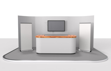 stand design in exhibition with big tv display. 3D rendering