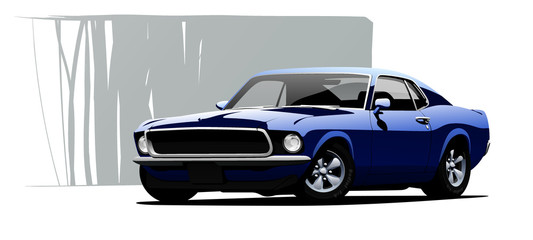 Garden Poster Cartoon cars Muscle car. Vector illustration.