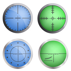 Crosshair target icon set. Realistic set of crosshair target vector icons for web design