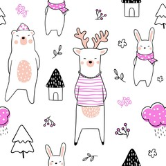Draw seamless pattern bear deer and rabbit on white.