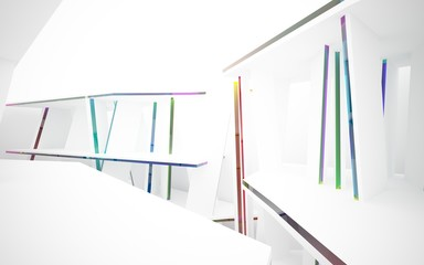 abstract architectural interior with white sculpture and geometric glass lines. 3D illustration and rendering