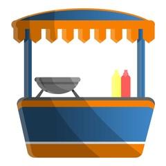 Hot dog kiosk icon. Cartoon of hot dog kiosk vector icon for web design isolated on white background
