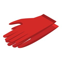 Red gloves icon. Isometric of red gloves vector icon for web design isolated on white background