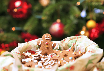 Christmas gingerbread cookies, gingerbread man with cute smile.