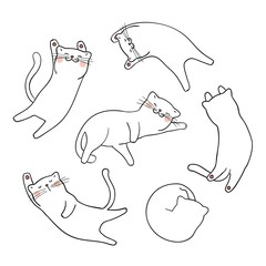 Draw outline of cute cat on white Doodle cartoon style.