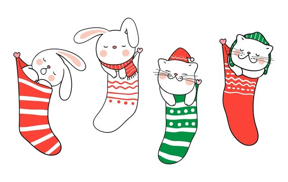 Draw cat and rabbit sleep in Christmas sock for Christmas.
