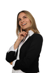Junge Geschäftsfrau lacht nachdenklich
