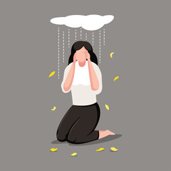 Depression woman character. Sad girl under cloud with rain vector cartoon illustration.