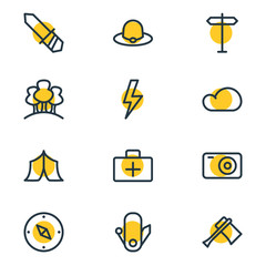 Vector illustration of 12 camp icons line style. Editable set of lightning, camera, signpost and other icon elements.