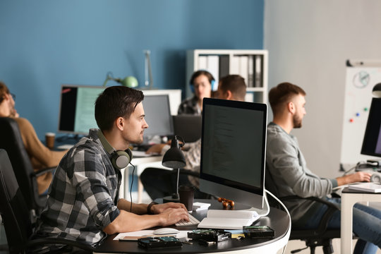 IT specialist working in office