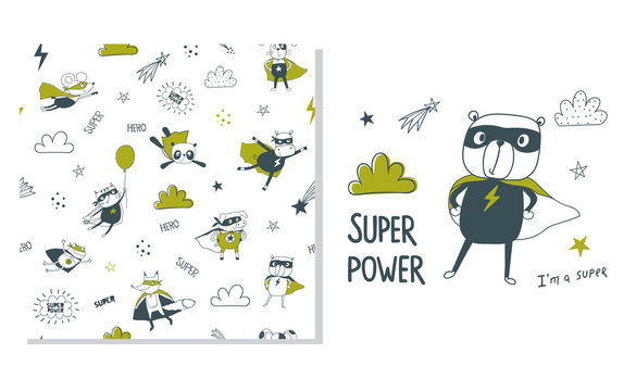 Bear superhero. Surface design and seamless pattern for kids