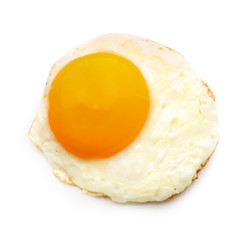 Tasty fried egg on white background