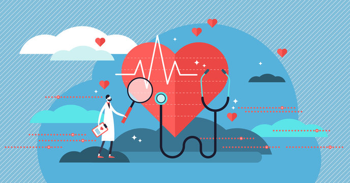 Cardiologist vector illustration. Mini person concept with heart health job
