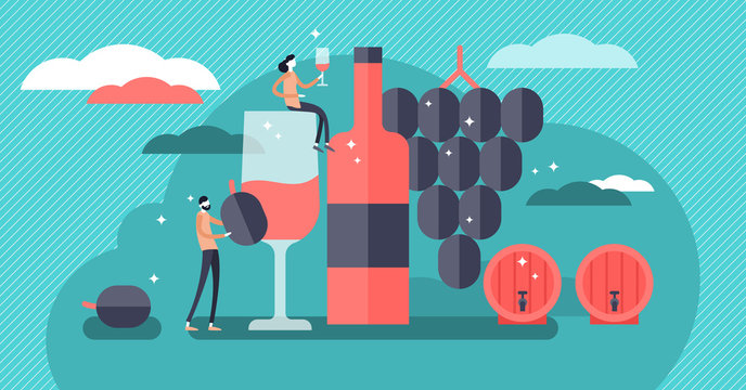 Wine vector illustration. Mini persons drinking alcoholic beverage concept.