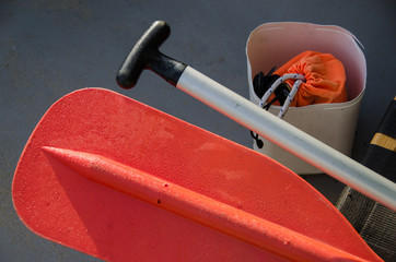 close up of boating equipment