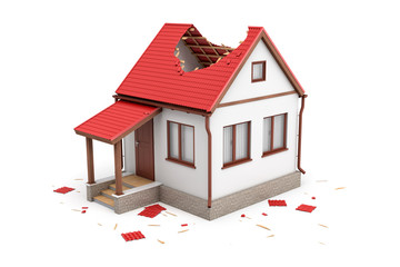 3d rendering of a detached house with a front porch and a big hole in the roof.