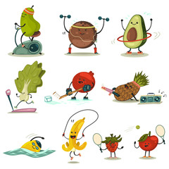 Funny fruits and vegetables take exercise. Eating healthy and fitness. Cute food cartoon character vector set.