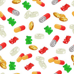 Medicine tablets seamless pattern on a white background. Pills, omega 3 fish oil capsules, jelly gummy bears cartoon vector illustration.