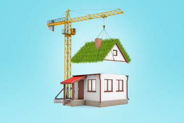 3d rendering of building crane lifting grass roof over white house on light blue background