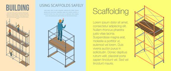 Scaffolding banner set. Isometric set of scaffolding vector banner for web design