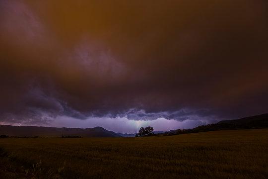 Storm and lightning in Manresa, Barcelona, Spain