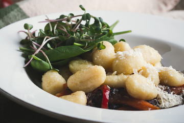 Gnocchi with roasted carrots, red cabbage and mushrooms, Vegetarian pasta