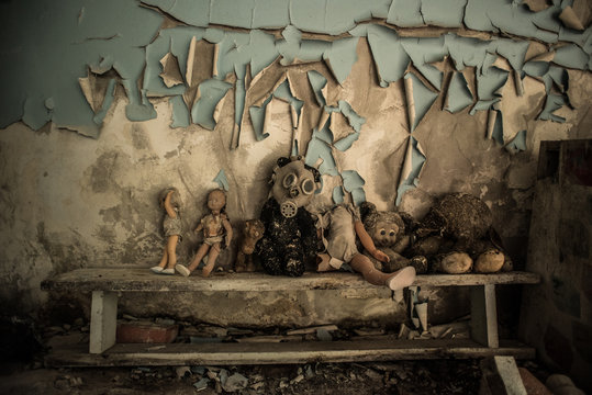 The abandoned buildings of the dead city of Chernobyl
