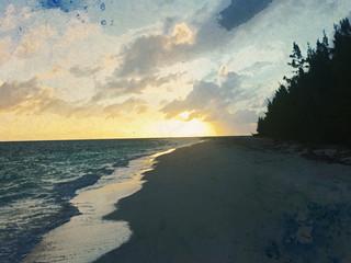 Anegada Beach Sunset Watercolor