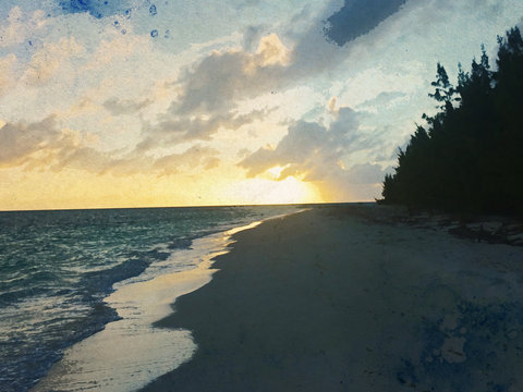 Anegada Beach Sunset Watercolor