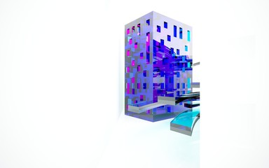 abstract architectural interior with colored smooth glass sculpture with black lines. 3D illustration and rendering