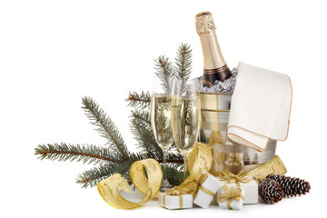 Champagne and Christmas and New Year decorations