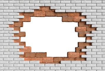 3D hole wall bricks illusion 3D rendering